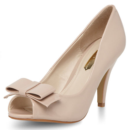 nude shoes with bow and peep toe