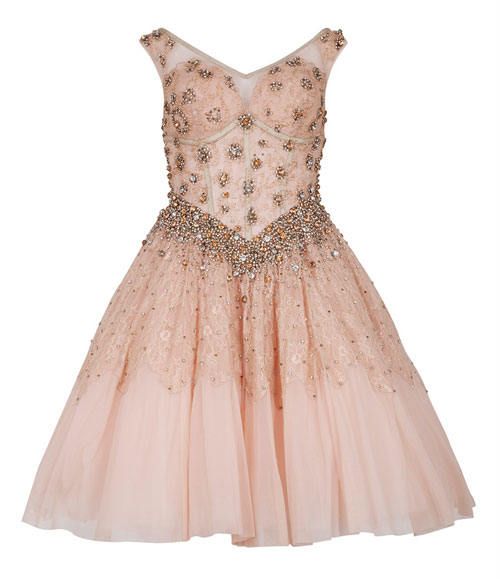 pink embellished prom dress