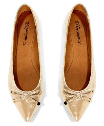 metallic flats with pointed toes