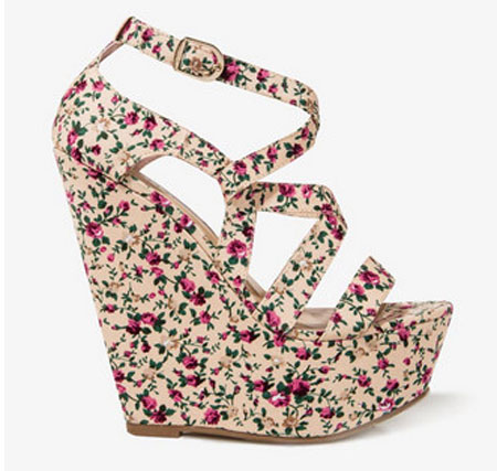 platform wedge sandals with floral print