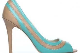 turquoise and tan peep toe shoes