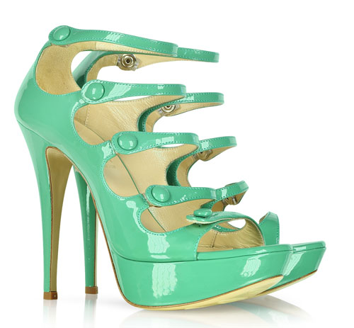 green patent high heel sandals with multiple straps