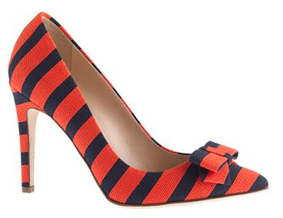 red and navy stripebow pumps by J Crew