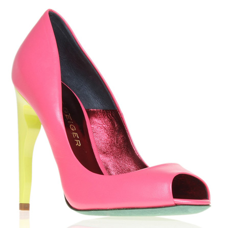 pink peep toe shoes with neon yellow heel