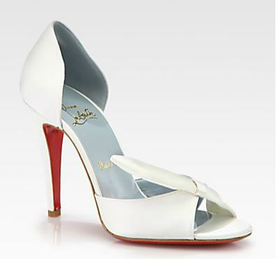 Christian Louboutin white satin bridal shoes