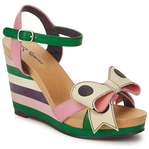 wedge sandals by Lola Ramona with stripe heel and polka dot bow