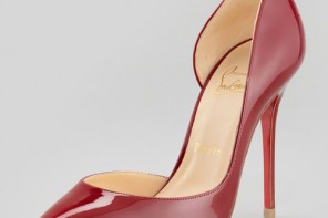 Christian Louboutin red pointed toe court shoes