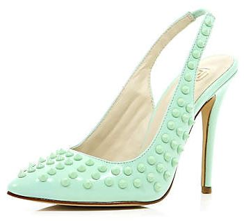 mint studded slingbacks
