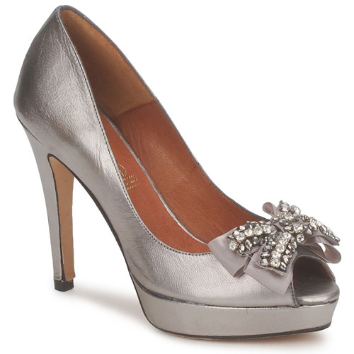 pewter evening shoes with bow