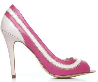 pink and white peep toe shoes