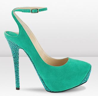 green suede high heel shoes by Jimmy Choo