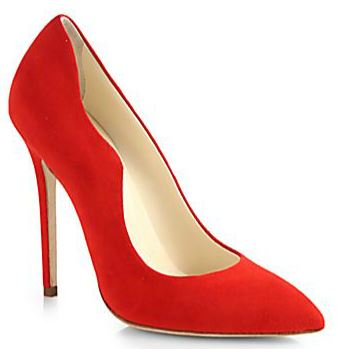 red suede pumps by Brian Atwood