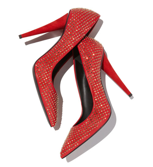 red studded court shoes with pointed toes