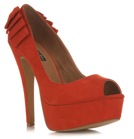 red high heels with bows
