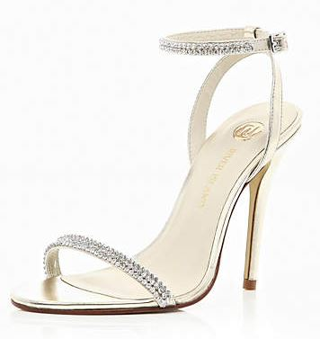 gold barely-there sandals