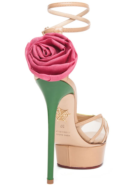 pink rose on high heel sandal