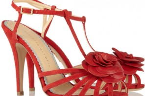 red Charlotte Olympia sandals with rose detail