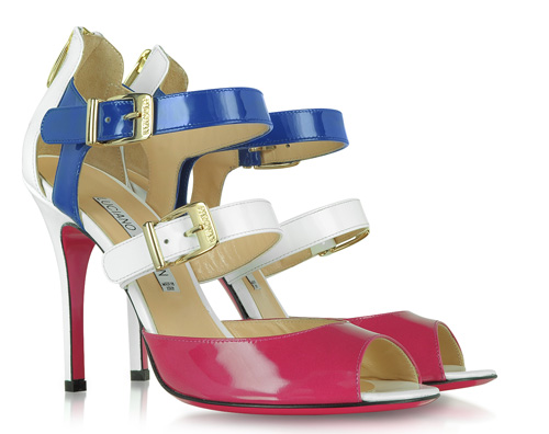 nautical sandals in red white and blue