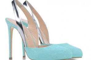 turquoise shoes with silver slingbacks