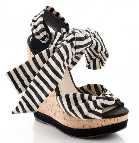 black and white stripe wedges