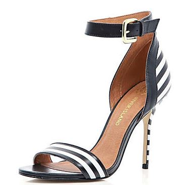black and white stripe sandals