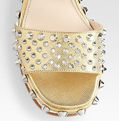 gold spiked sandals