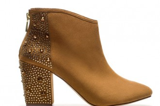 tan ankle boots with studded heel