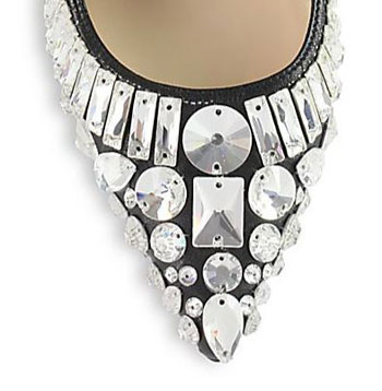 pointed toe with crystal embellishment