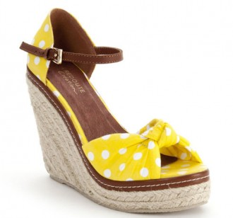 yellow polka dot wedges