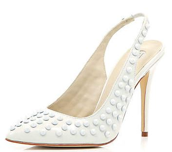 white studded slingbacks