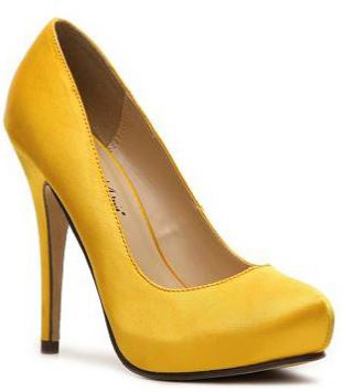 yellow high heel shoes