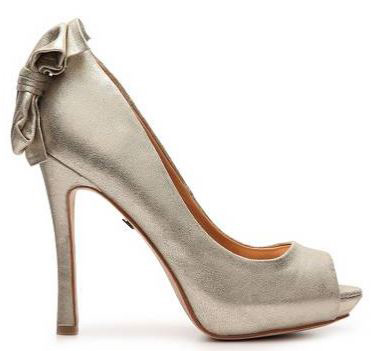 silver shoes with bow on heel