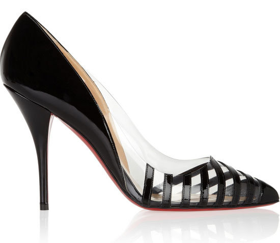 Christian Louboutin Pivichic 100 striped patent-leather and PVC pumps