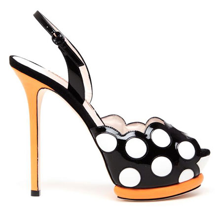 Dotty Patent and Cushioned Leather Slingbacks