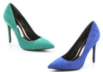 Boutique 9 pointed toe pumps in green and blue