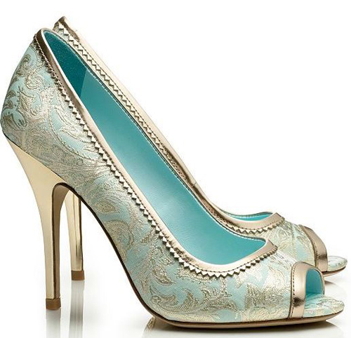 Tory Birch brocade peep toe shoes
