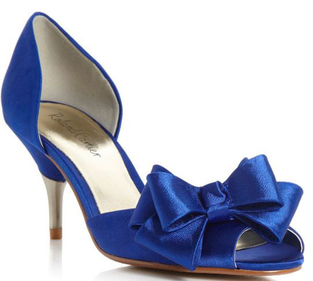 blue satin shoes with bow