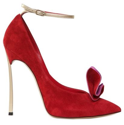 red suede Casadei Blade pumps with gold heel