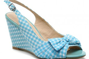turquoise gingham wedges