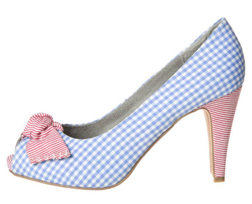 blue gingham peep toe shoes