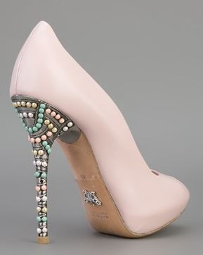 pink shoes with embellished heel