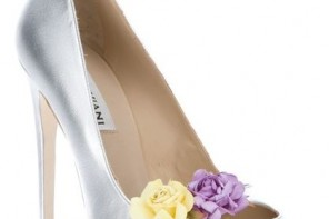 silver shoes with flowers on toes