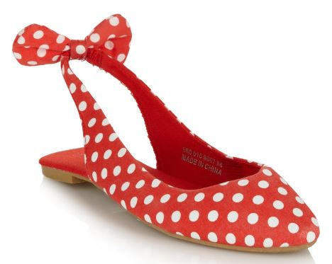 red polka dot slingbacks