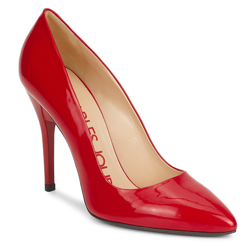red patent stilettos