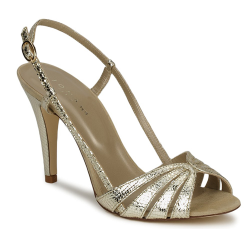 gold high heeled sandals