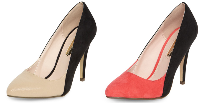 two-tone high-heel shoes