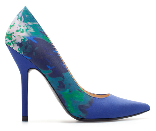 floral print blue court shoes