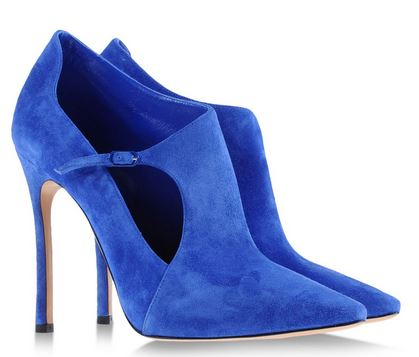 cobalt blue suede shoe boots with high heels