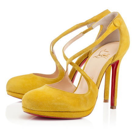Yellow VAGALAMI VEAU VELOURS heels by Christian Louboutin