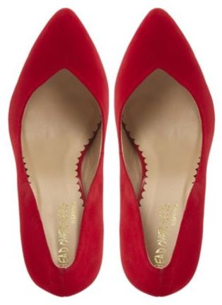 red sweetheart pumps